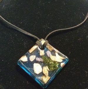 Glittery Blue Glass Square Pendant Necklace